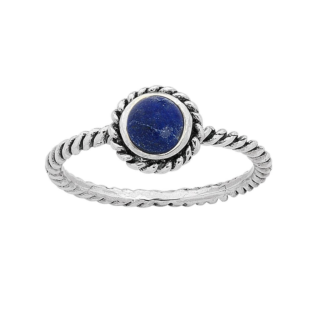 Sterling Silver Lapis Lazuli September Birthstone Ring with Twisted Band