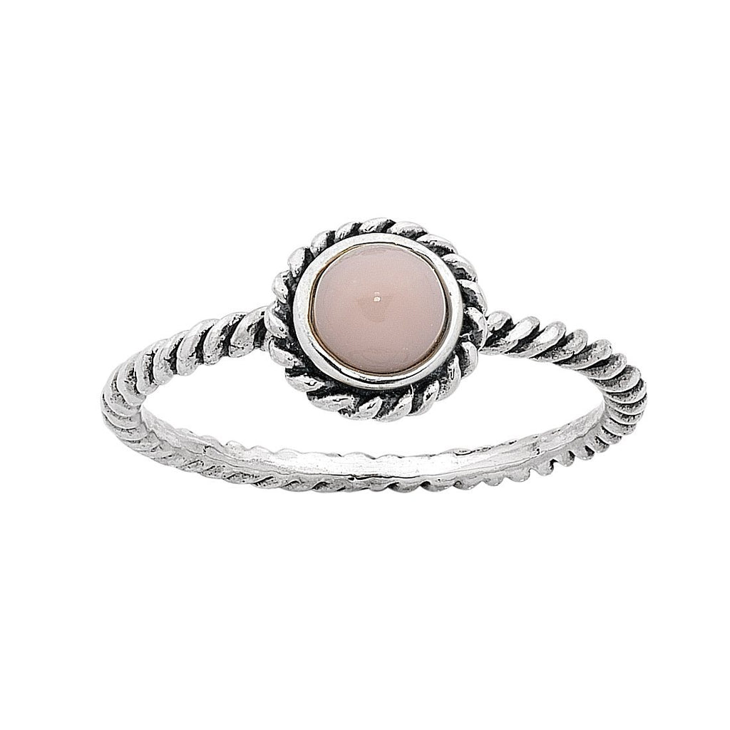 Sterling Silver Pink Opal October Birthstone Ring with Twisted Band Rings Bevilles