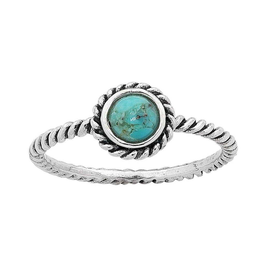 Sterling Silver Turquoise December Birthstone Ring with Twisted Band Rings Bevilles