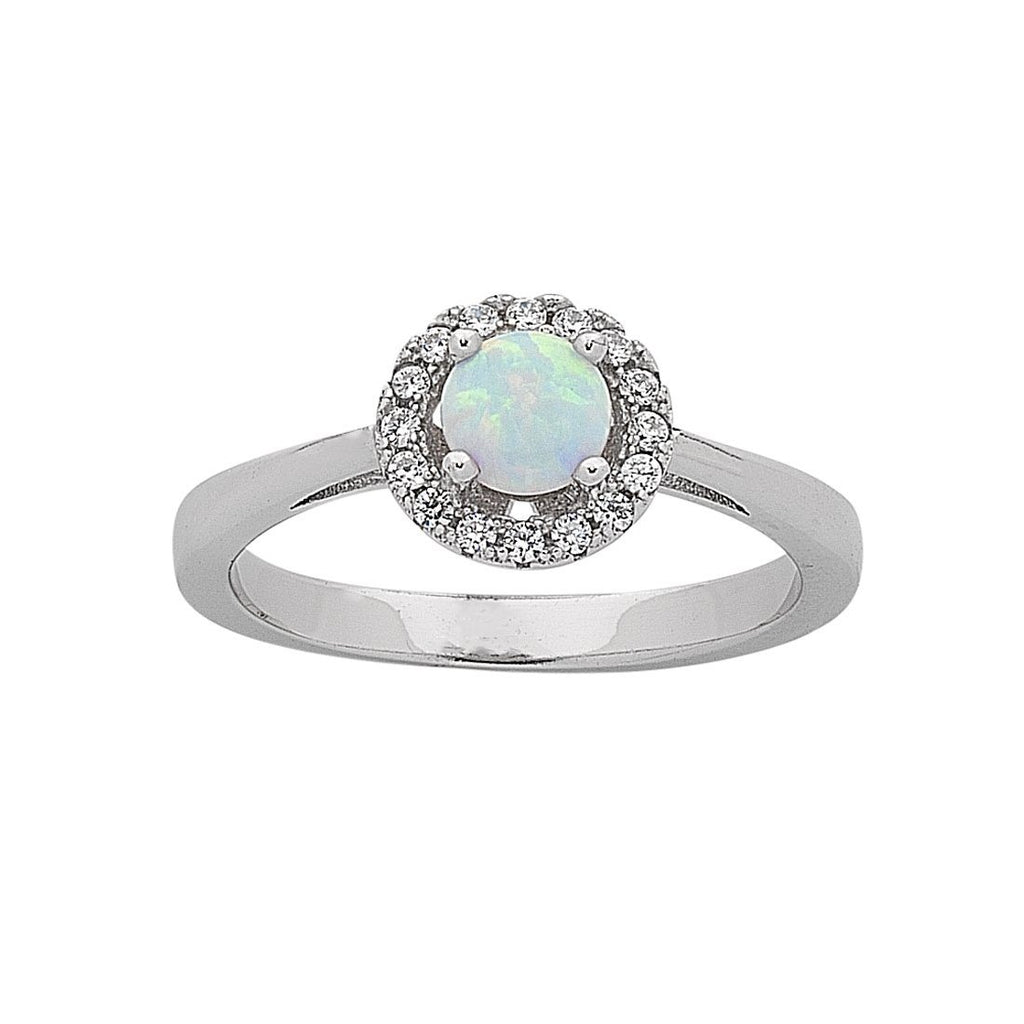Sterling Silver Synthetic Opal and Cubic Zirconia Ring Rings Bevilles