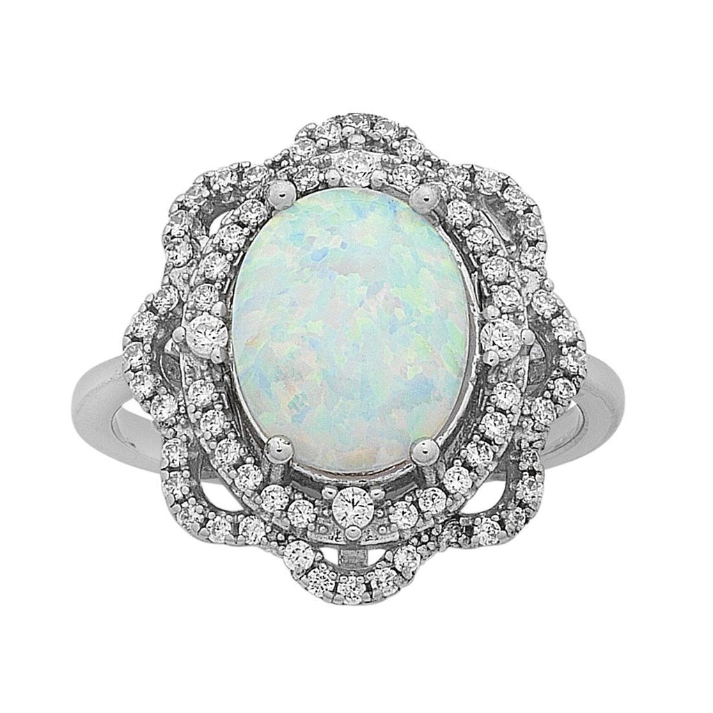 Sterling Silver Created Opal and Cubic Zirconia Ring Rings Bevilles