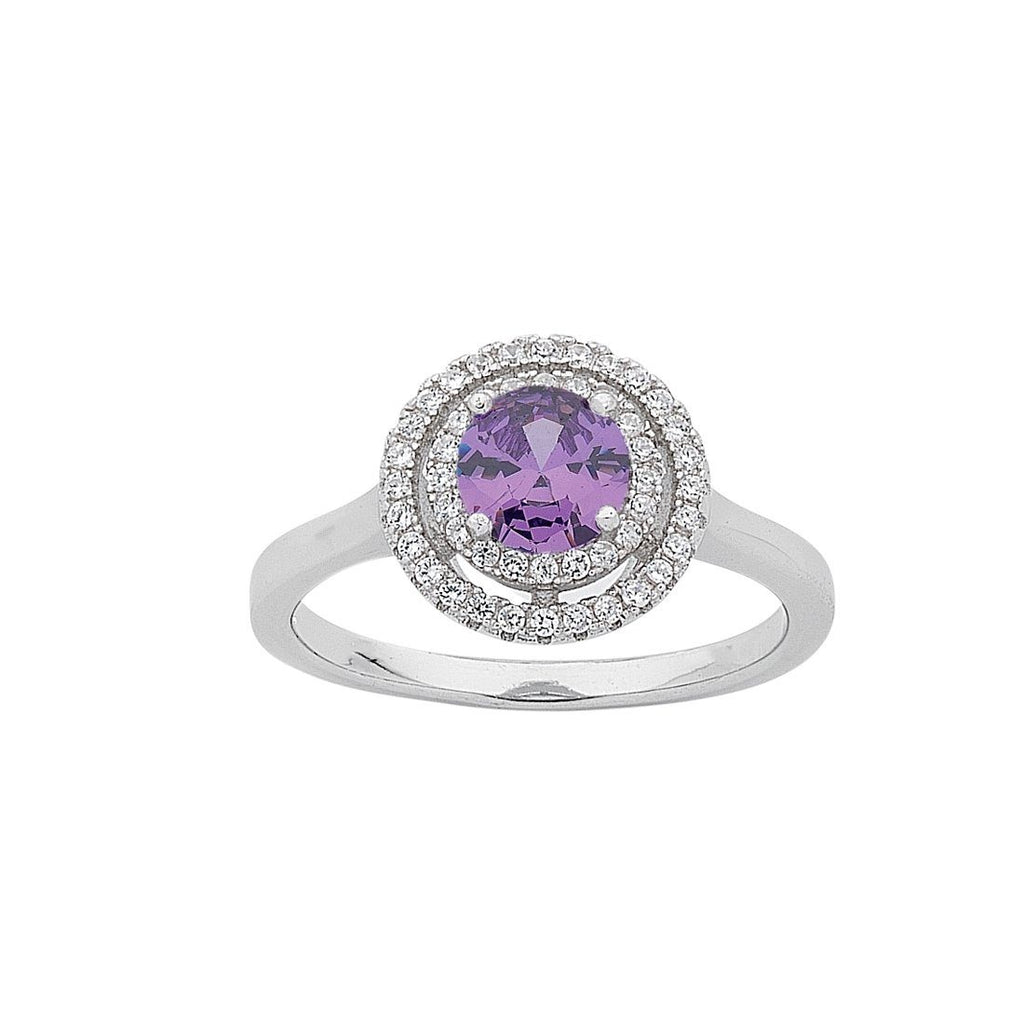 February Birthstone Sterling Silver Purple Cubic Zirconia Halo Ring Rings Bevilles