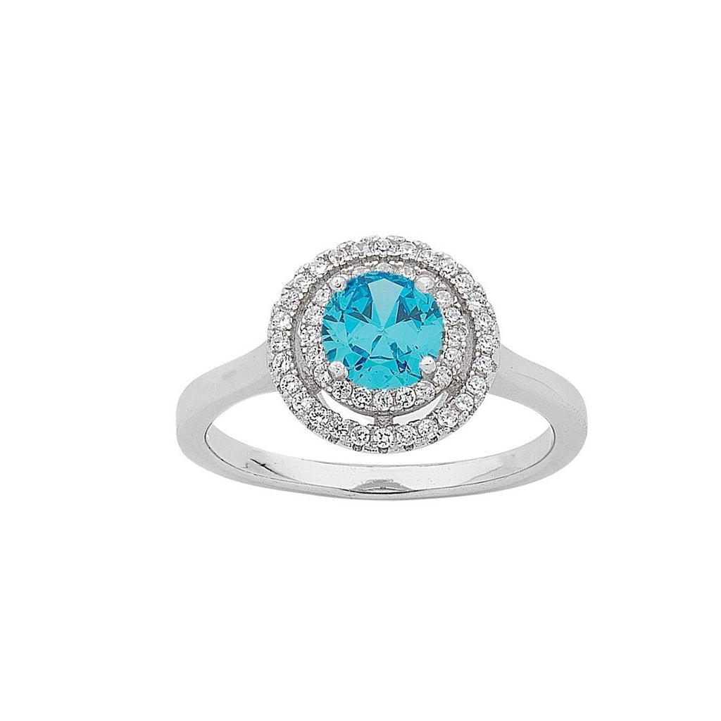 March Birthstone Sterling Silver Light Blue Cubic Zirconia Halo Ring