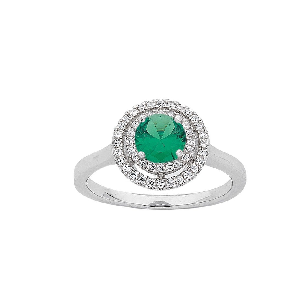 May Birthstone Sterling Silver Green Cubic Zirconia Halo Ring