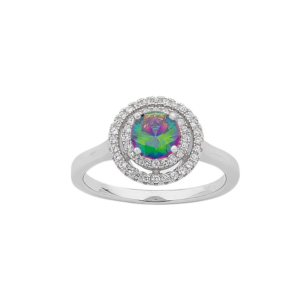 June Birthstone Sterling Silver Mystic Cubic Zirconia Halo Ring