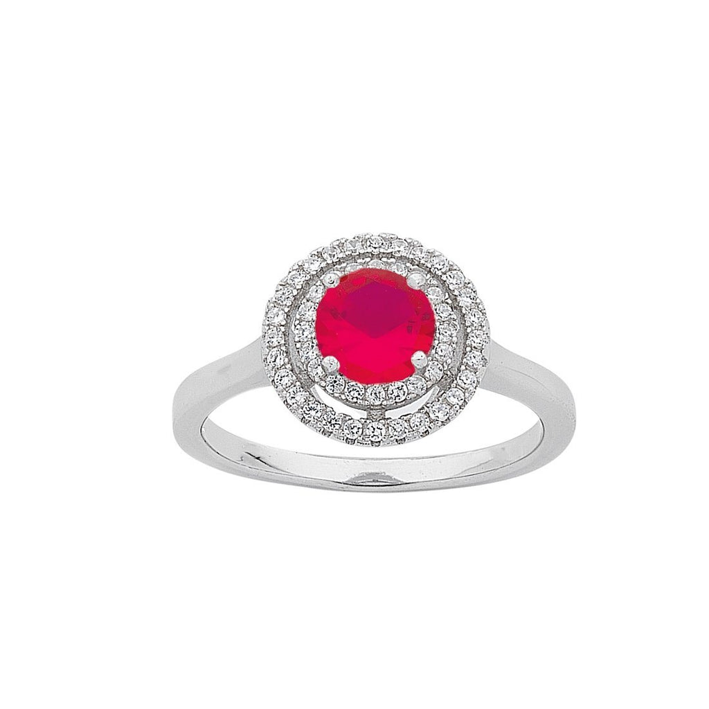 July Birthstone Sterling Silver Dark Pink Cubic Zirconia Halo Ring Rings Bevilles