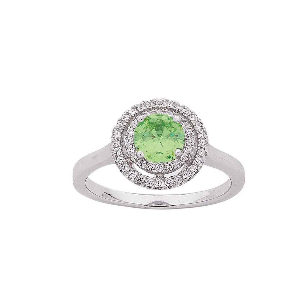 August Birthstone Sterling Silver Light Green Cubic Zirconia Halo Ring Rings Bevilles