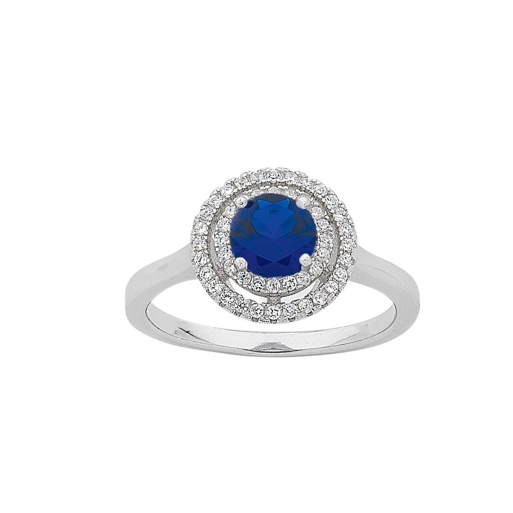 September Birthstone Sterling Silver Dark Blue Cubic Zirconia Halo Ring Rings Bevilles