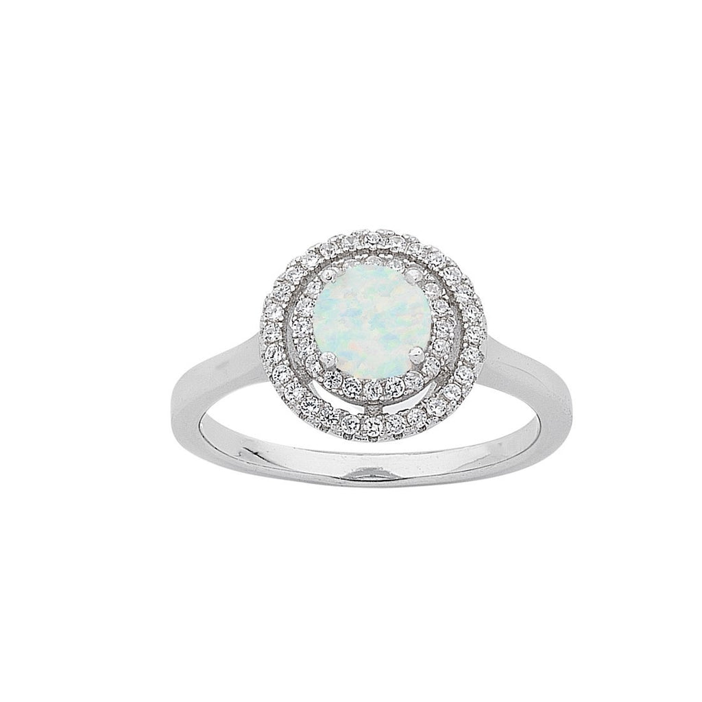 October Birthstone Sterling Silver Synthetic Opal & Cubic Zirconia Halo Ring Rings Bevilles