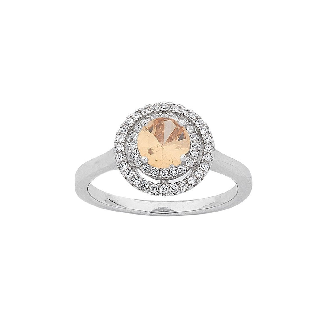November Birthstone Sterling Silver Topaz Cubic Zirconia Halo Ring