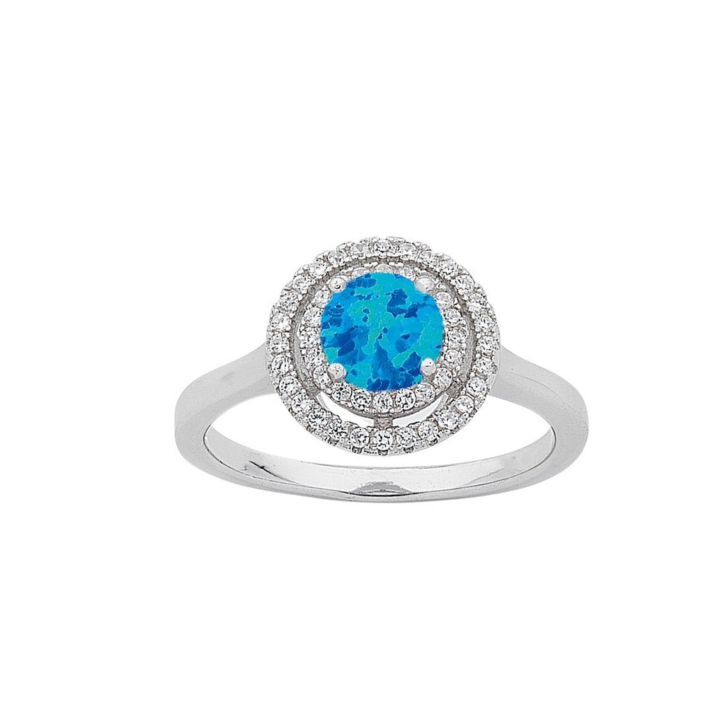 December Birthstone Sterling Silver Synthetic Blue Opal & Cubic Zirconia Halo Ring Rings Bevilles