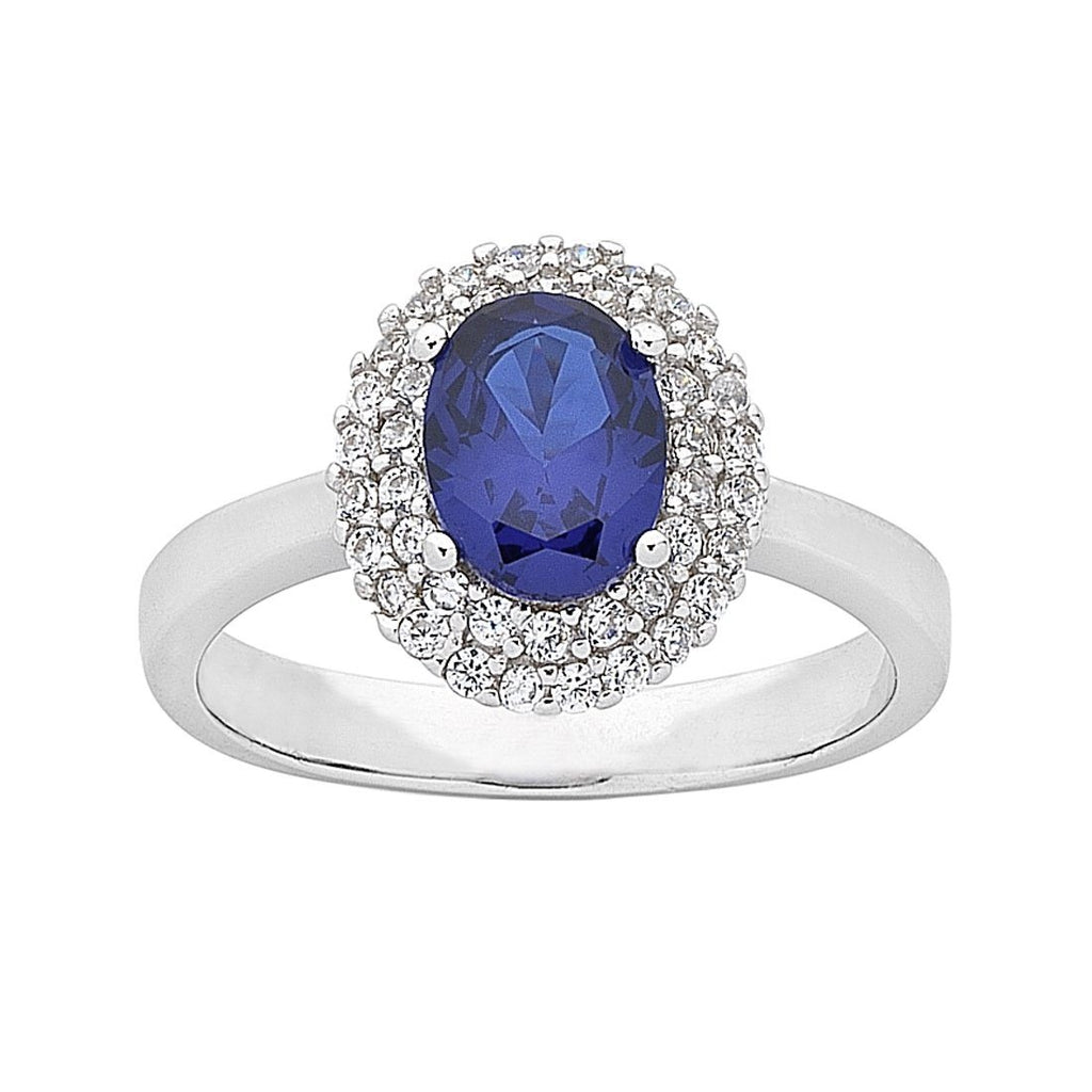 Sterling Silver Blue Cubic Zirconia Ring