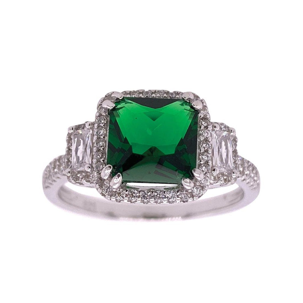 Sterling Silver Green Cubic Zirconia Ring Rings Bevilles