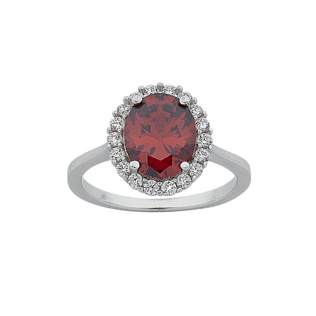 January Birthstone Sterling Silver Red Cubic Zirconia Ring
