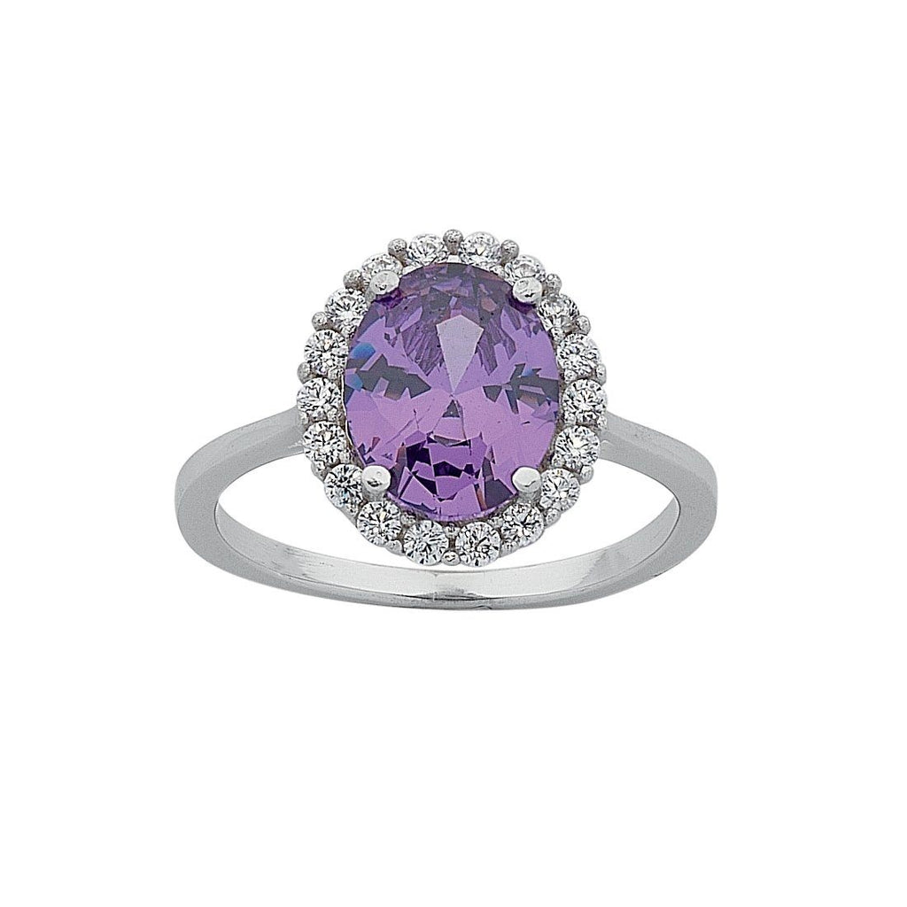 February Birthstone Sterling Silver Purple Cubic Zirconia Ring Rings Bevilles