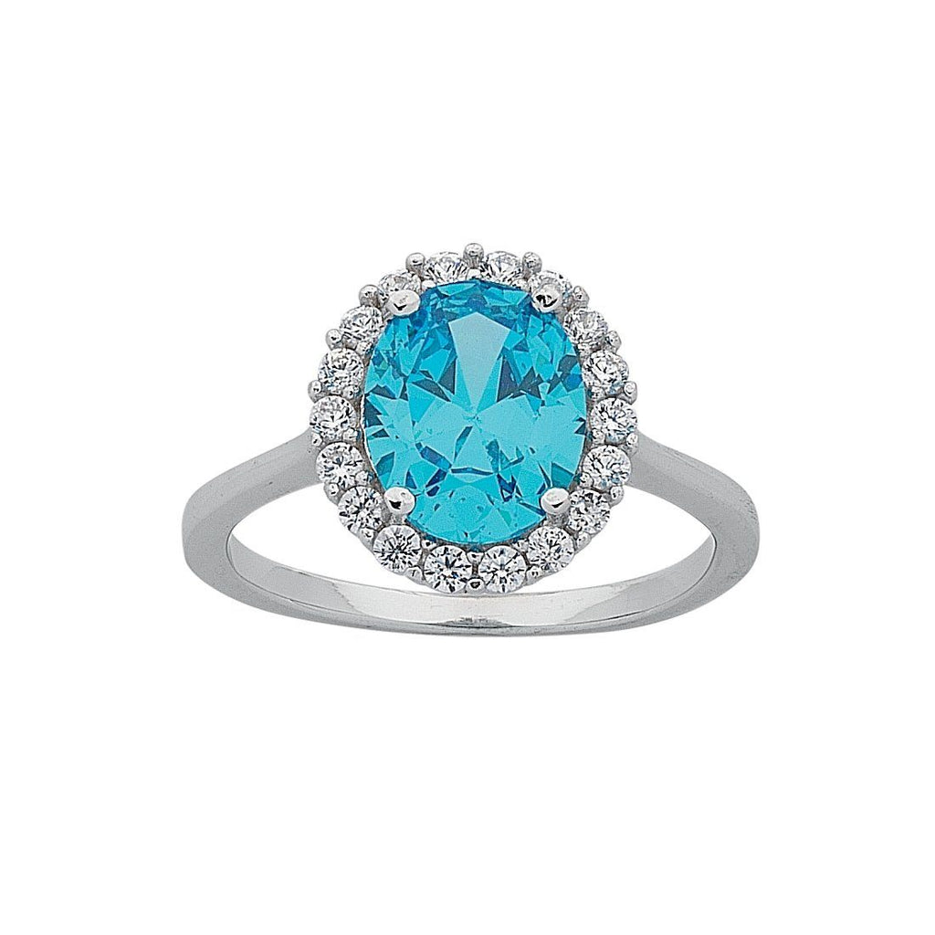 March Birthstone Sterling Silver Light Blue Cubic Zirconia Ring