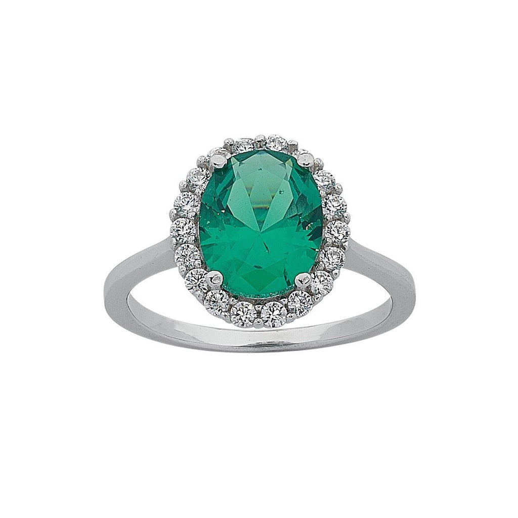 May Birthstone Sterling Silver Dark Green Cubic Zirconia Ring