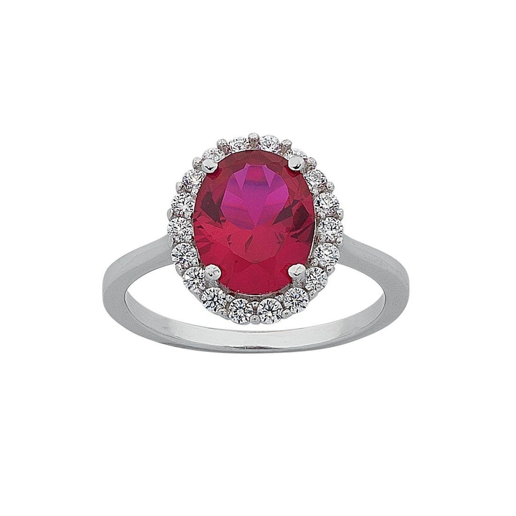 July Birthstone Sterling Silver Dark Pink Cubic Zirconia Ring Rings Bevilles