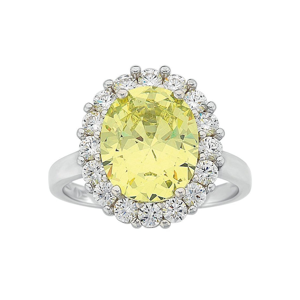 August Birthstone Sterling Silver Light Green Cubic Zirconia Ring Rings Bevilles