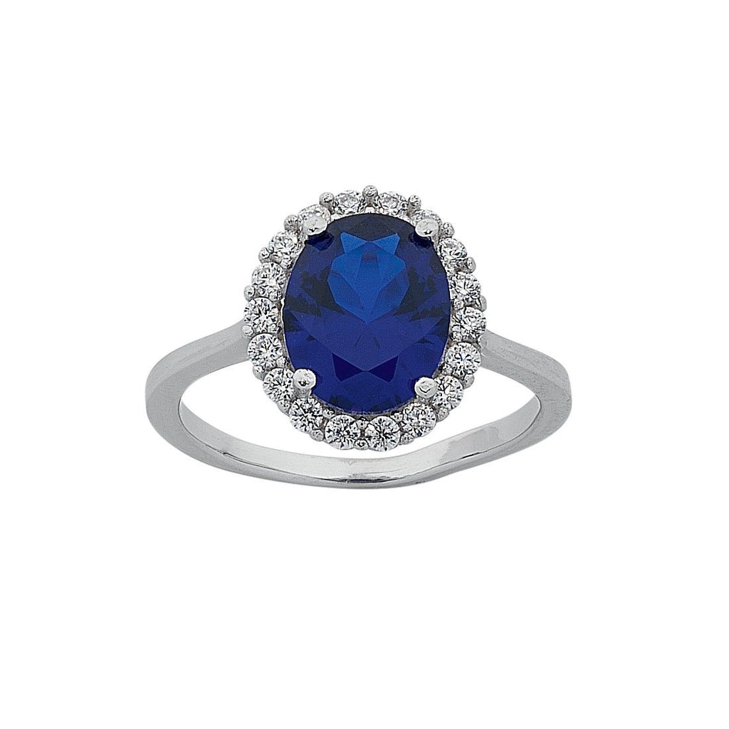 September Birthstone Sterling Silver Dark Blue Cubic Zirconia Ring Rings Bevilles