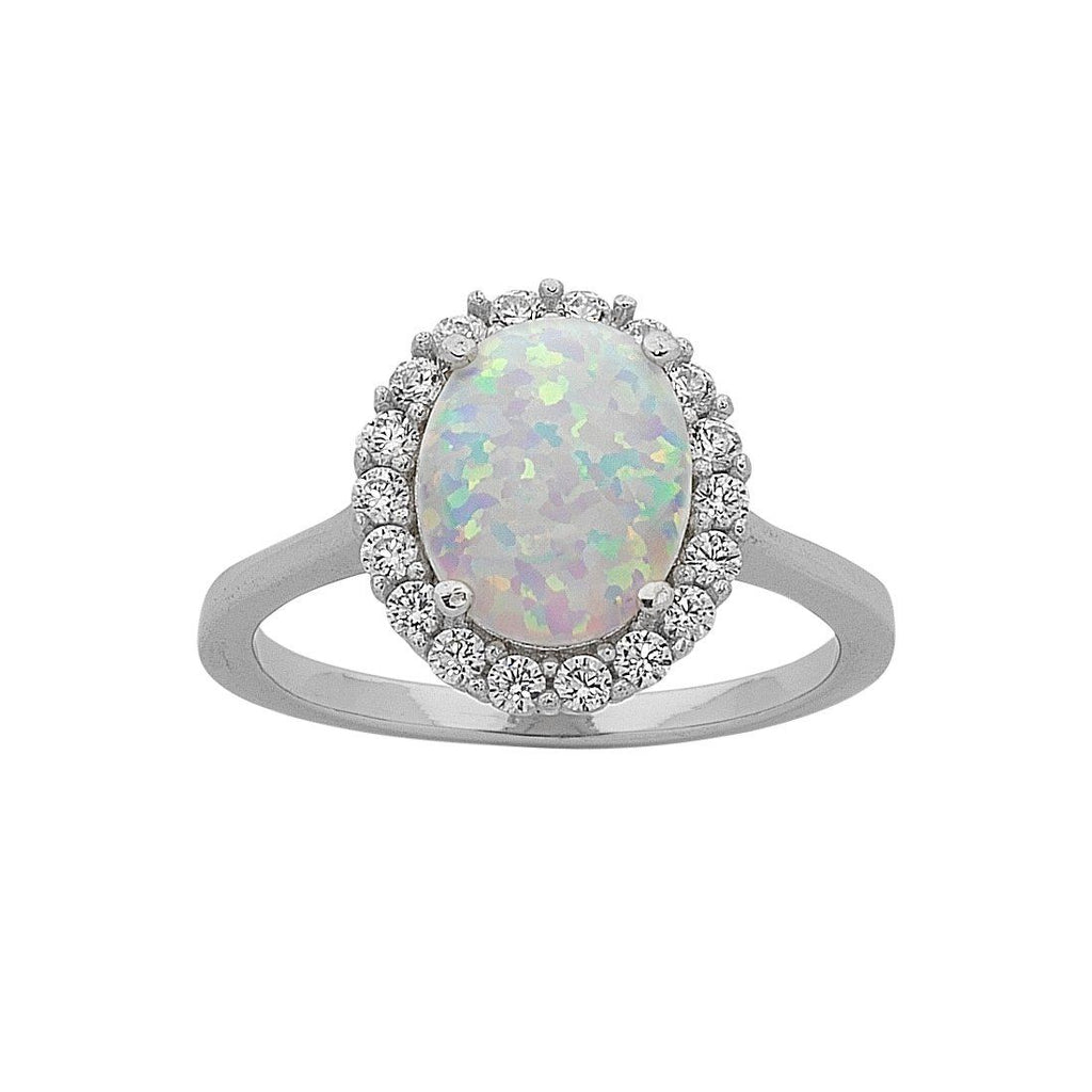 October Birthstone Sterling Silver Oval Synthetic Opal and Cubic Zirconia Ring Rings Bevilles
