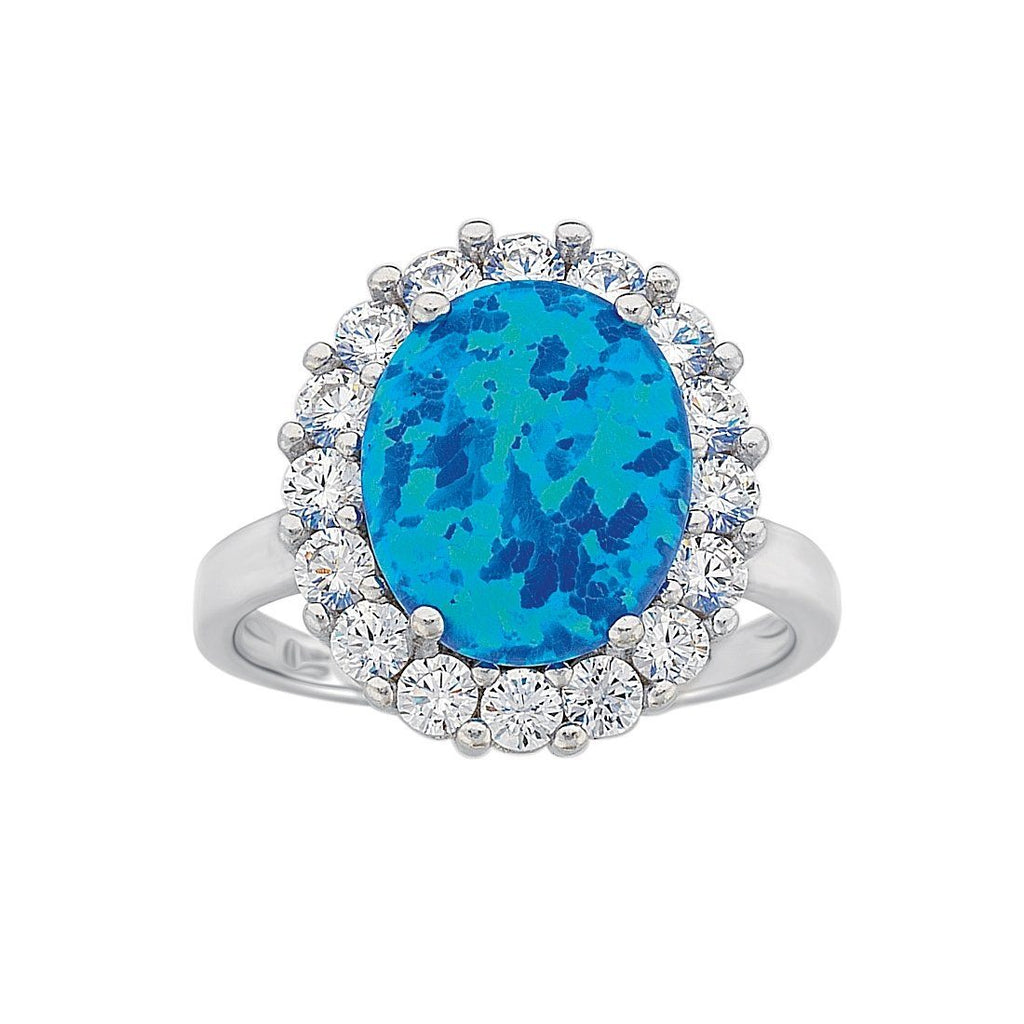 December Birthstone Sterling Silver Dark Blue Synthetic Opal and Cubic Zirconia Ring