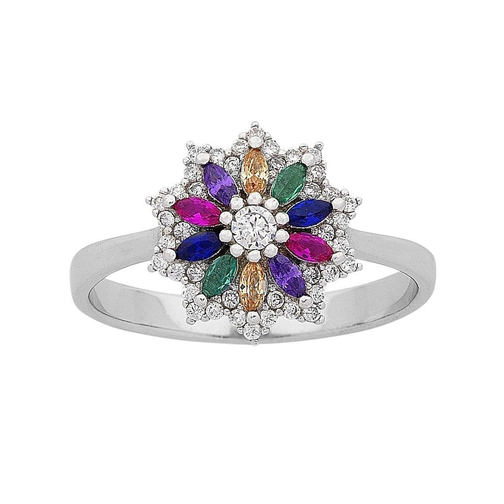Sterling Silver Multi Coloured Cubic Zirconia Flower Ring Rings Bevilles