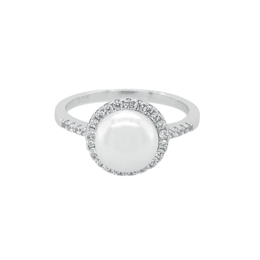 Sterling Silver Shell Pearl Cubic Zirconia Ring
