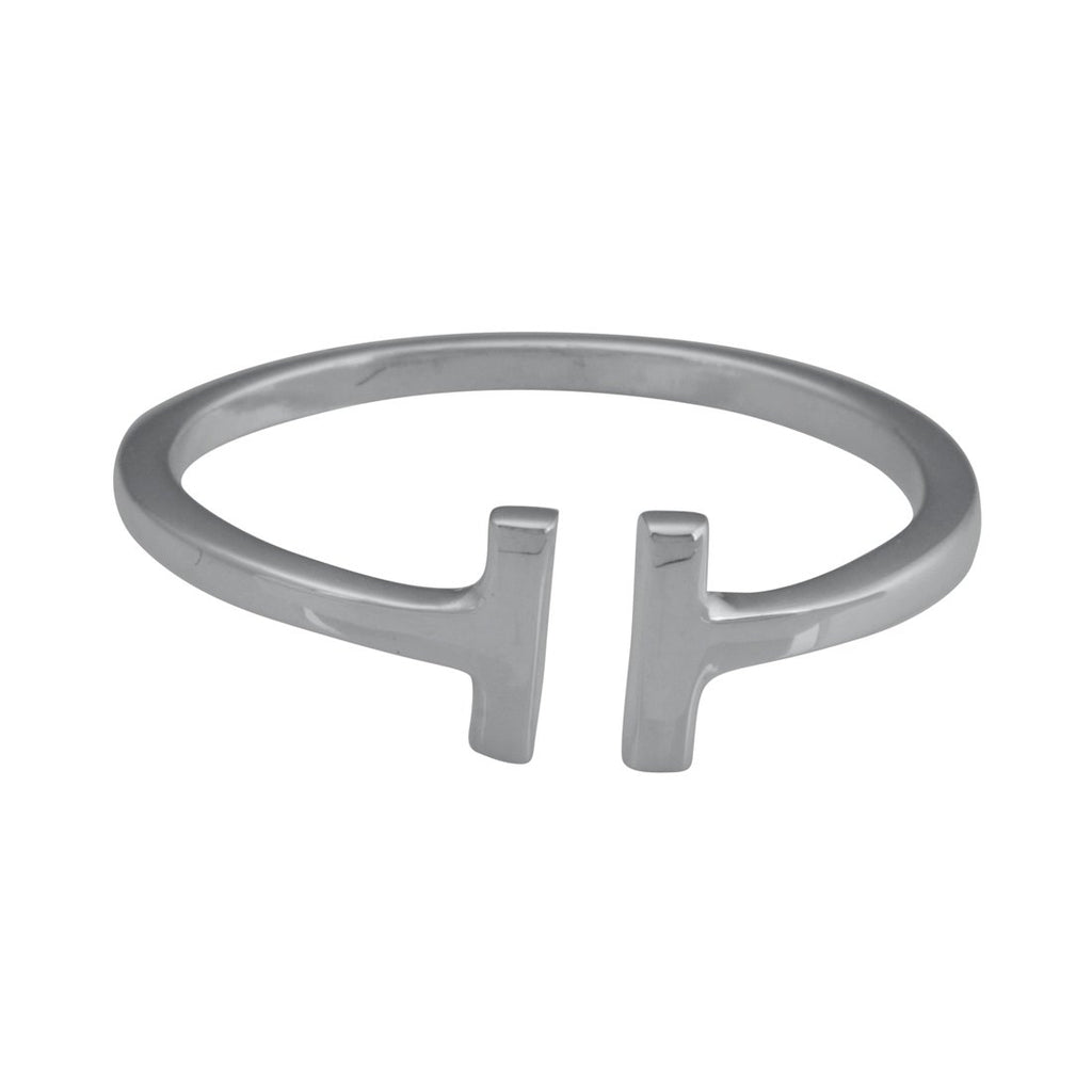 Sterling Silver Open Double Bar Stackable Ring