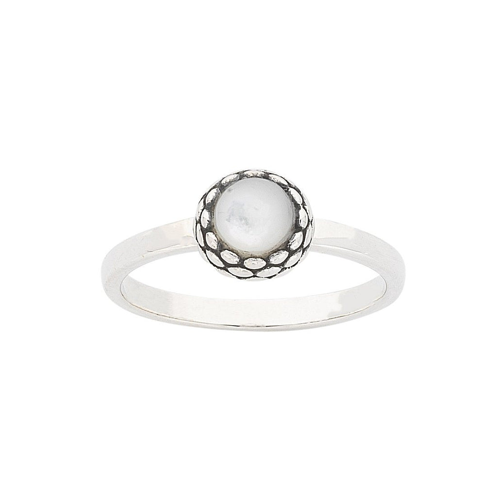 Sterling Silver White Stone Stackable Ring