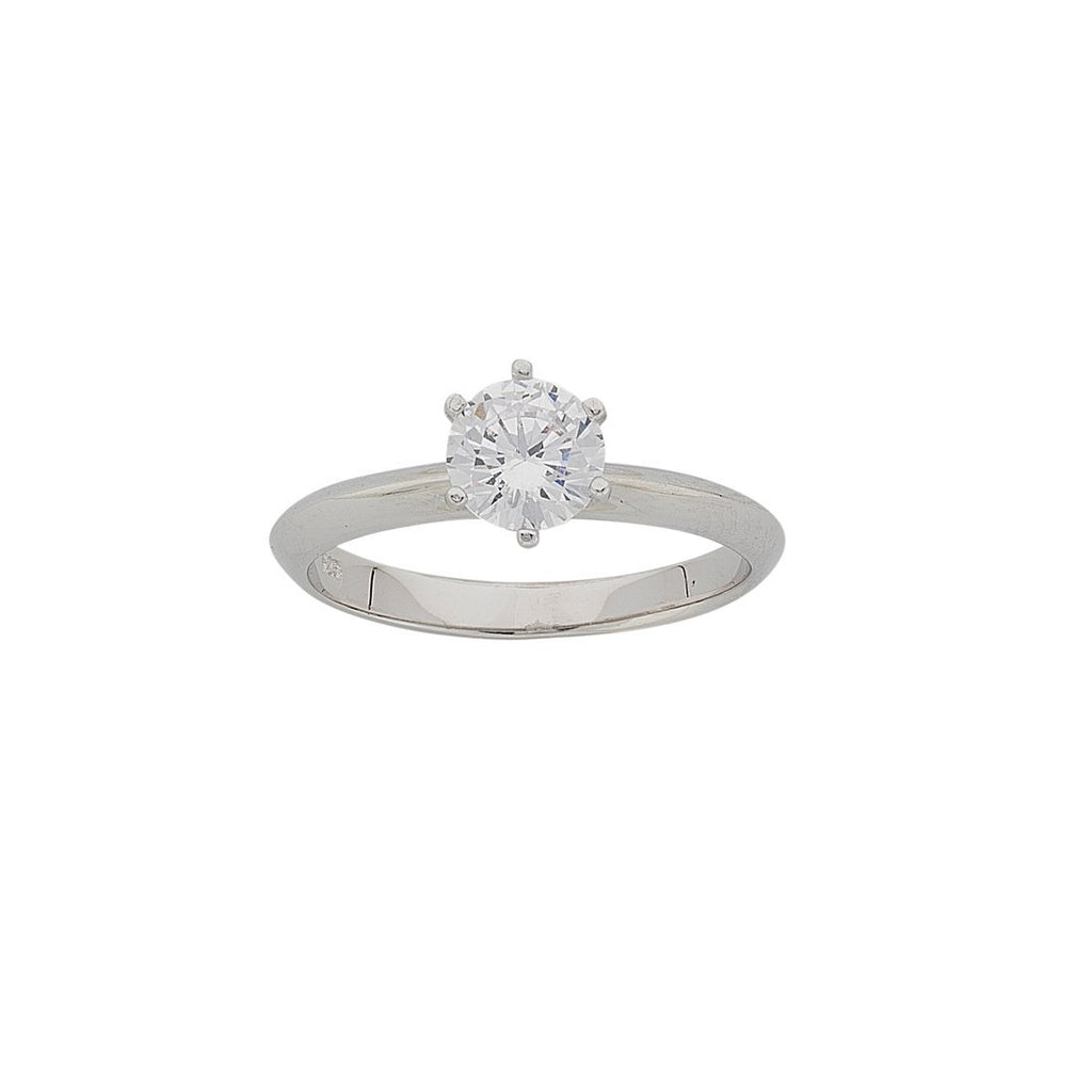 Sterling Silver White Round 6 Claw Solitaire Cubic Zirconia Ring