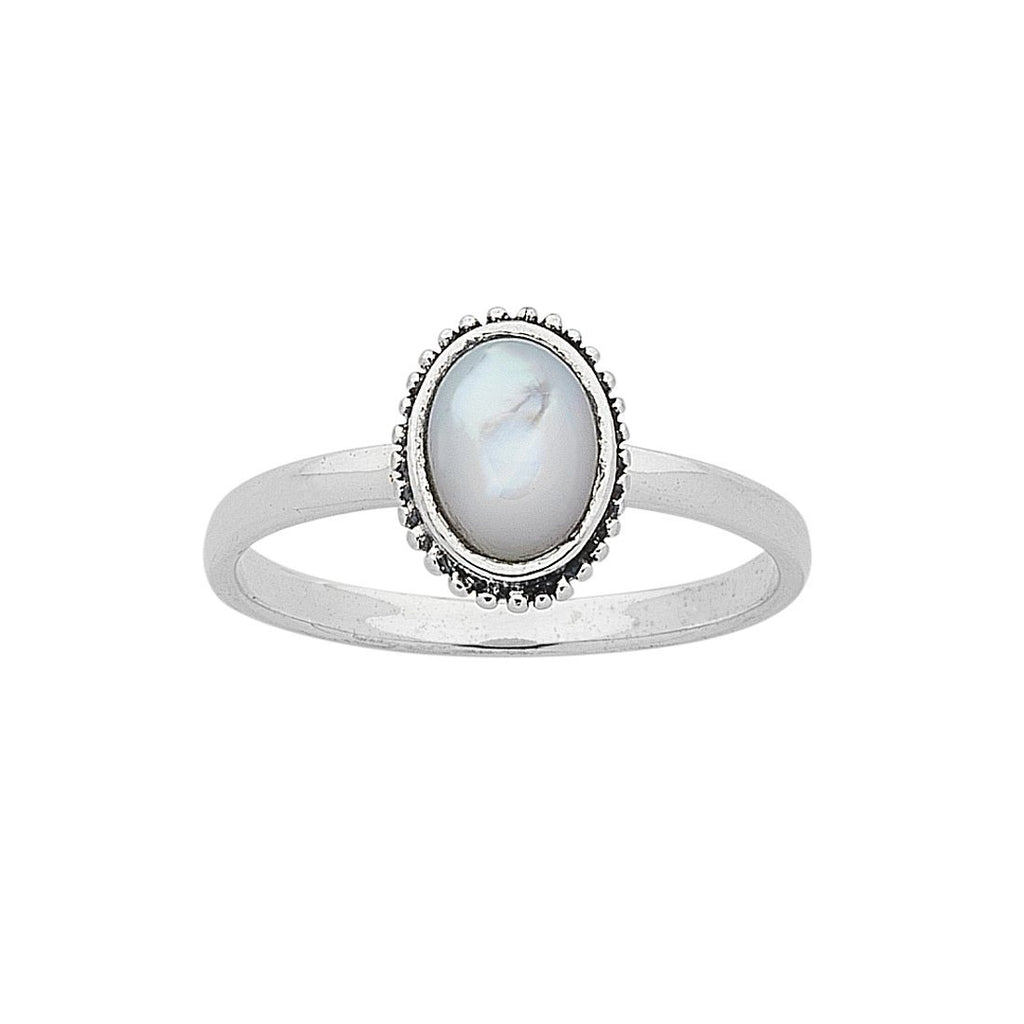 Sterling Silver White Mother of Pearl Ring