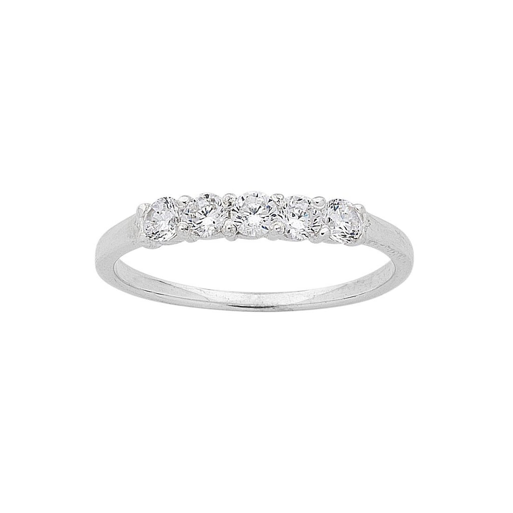 Sterling Silver Cubic Zirconia 5 Stone Claw Set Ring Rings Bevilles