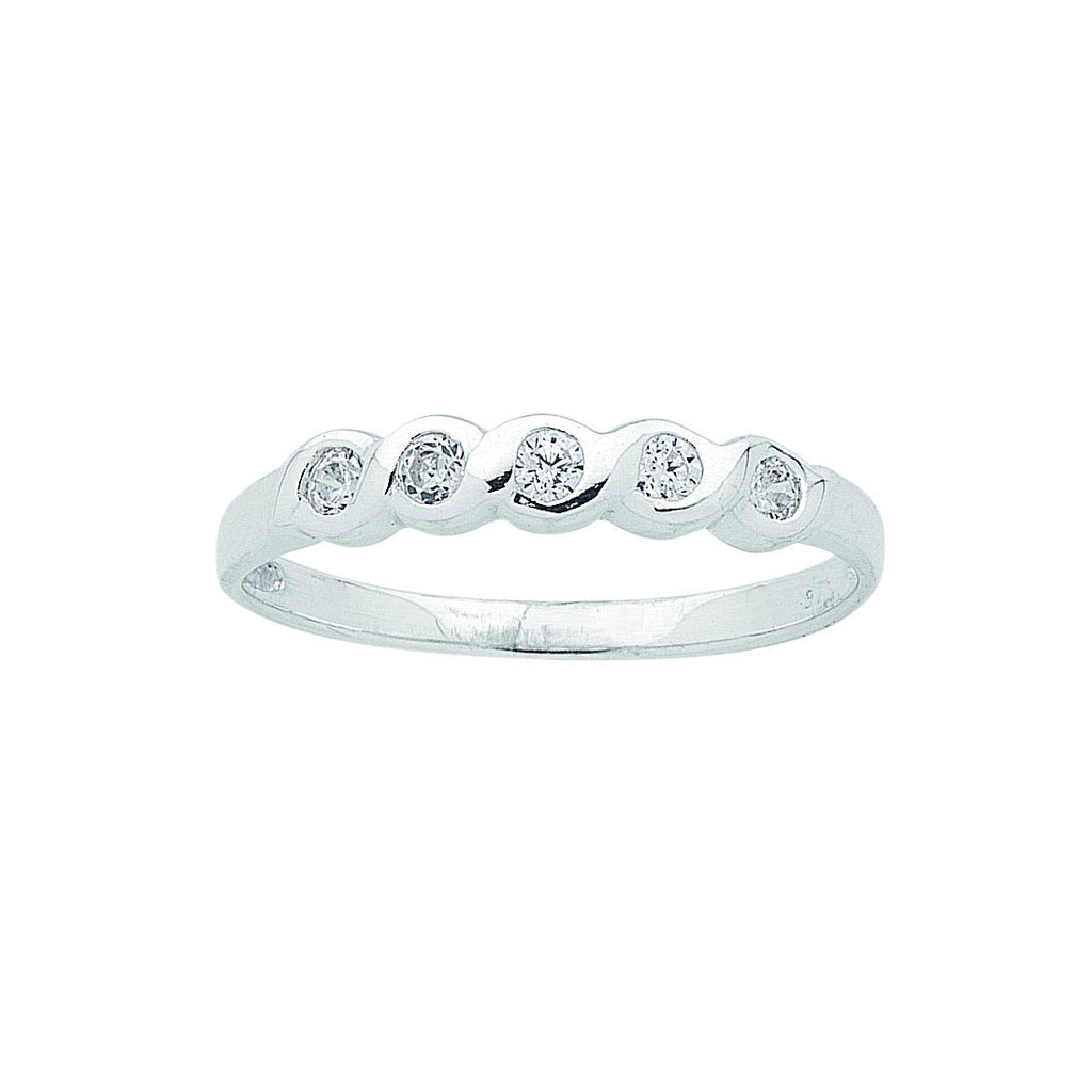 Sterling Silver Cubic Zirconia 5 Stone Bezel Set Ring Rings Bevilles