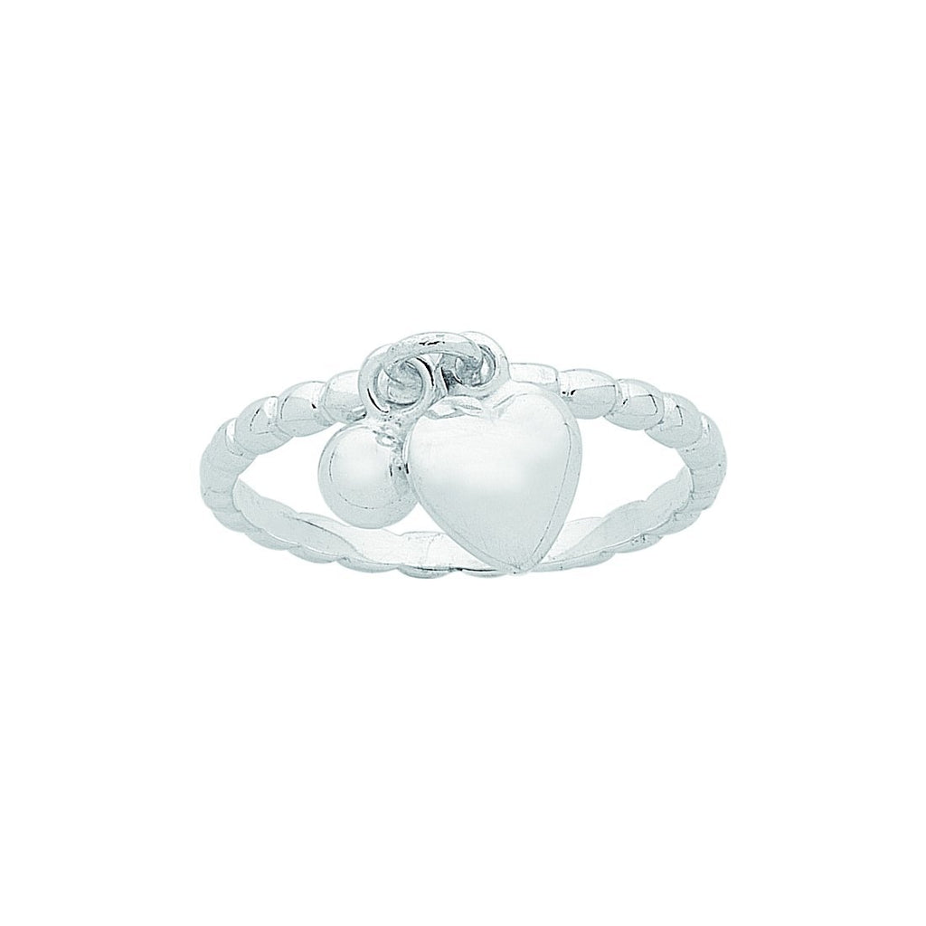 Sterling Silver Ball and Heart Charm Stackable Ring