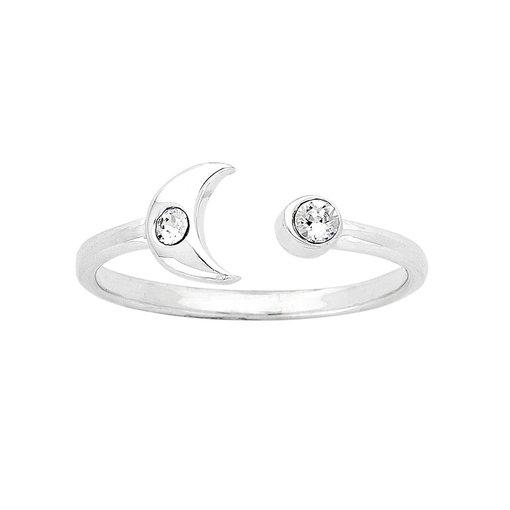 Sterling Silver Cubic Zirconia Moon Ring