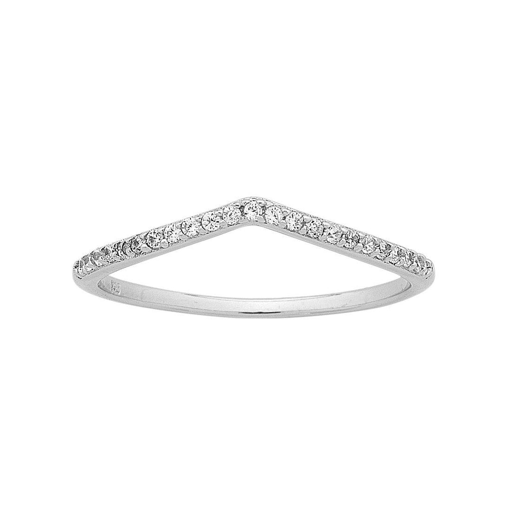 Sterling Silver Cubic Zirconia Small V Ring