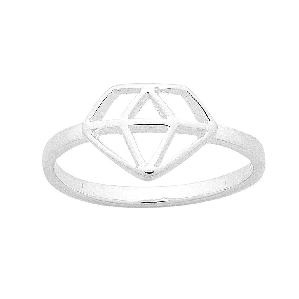 Sterling Silver Diamond Shape Outline Ring