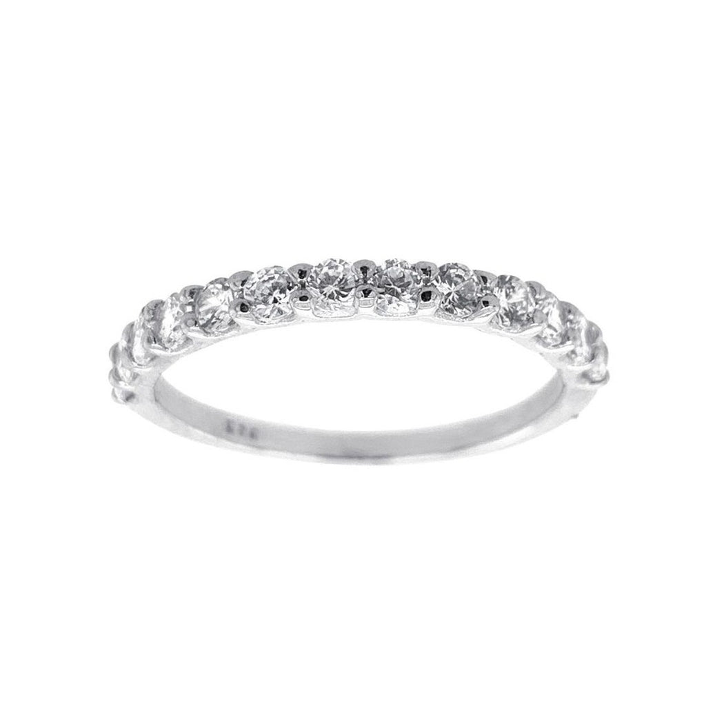 Sterling Silver Cubic Zirconia Claw Band Ring