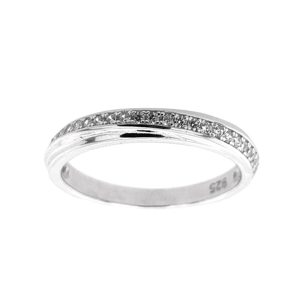 Sterling Silver Cubic Zirconia Diagonal Set Ring