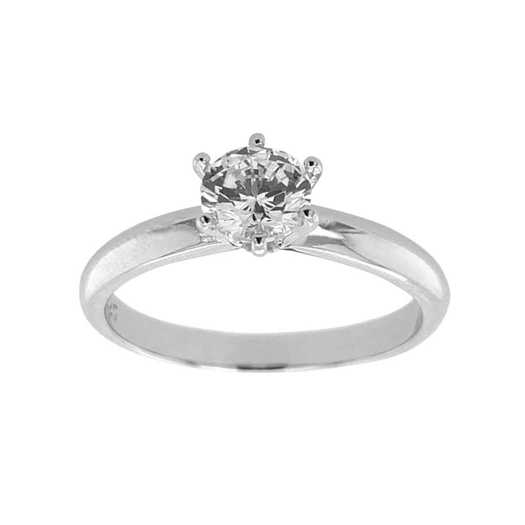 Sterling Silver Cubic Zirconia 6mm Solitaire Ring