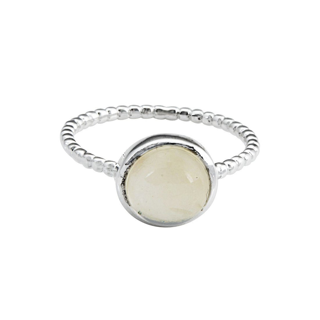Sterling Silver Round Moonstone Stackable Ring Rings Bevilles