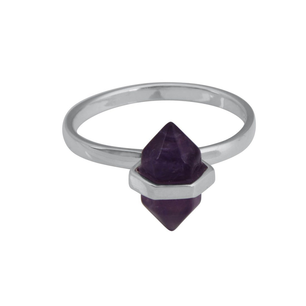 Sterling Silver Oval Purple Amethyst Stackable Ring