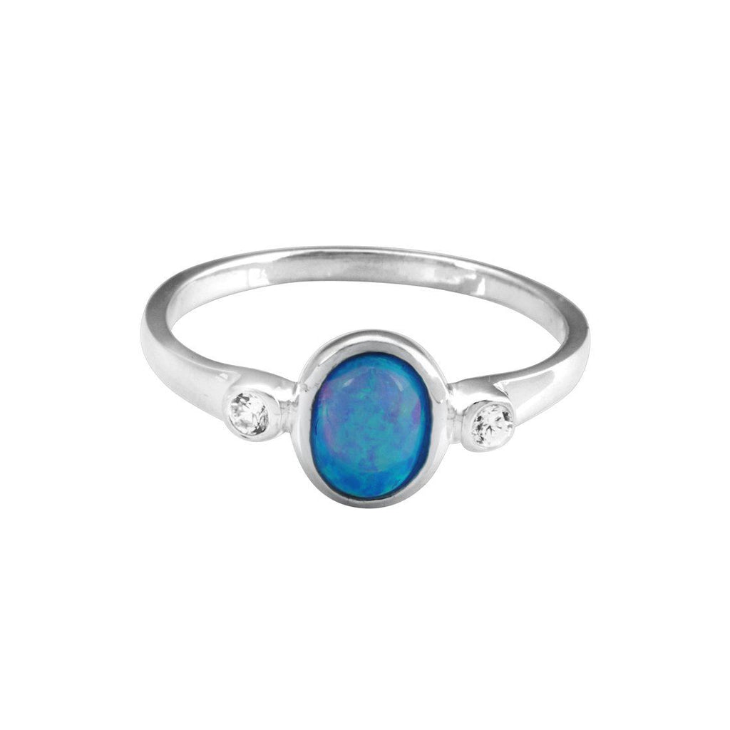 Sterling Silver Synthetic Blue Opal Stackable Ring Rings Bevilles