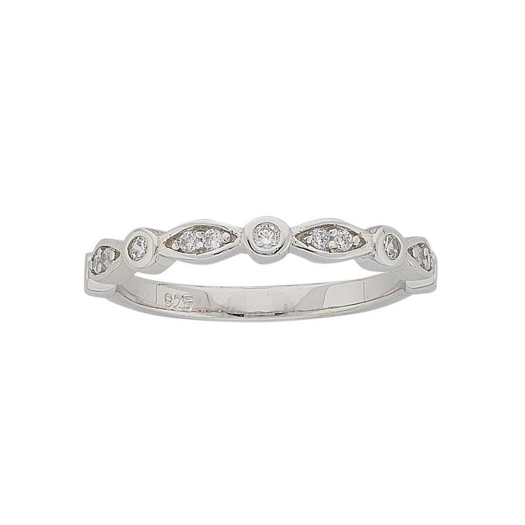 Sterling Silver Bezel Set Cubic Zirconia Stackable Ring