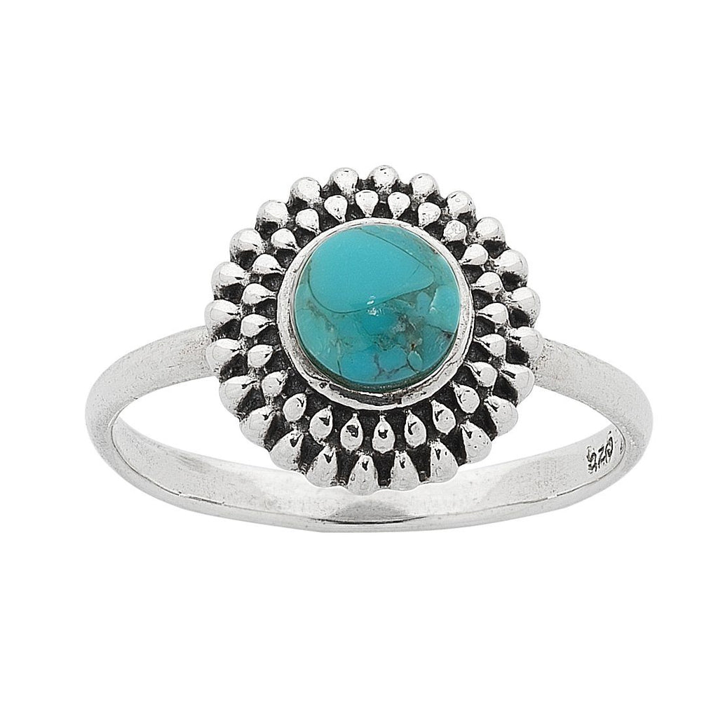 Sterling Silver Turquoise Centre Stackable Ring Rings Bevilles
