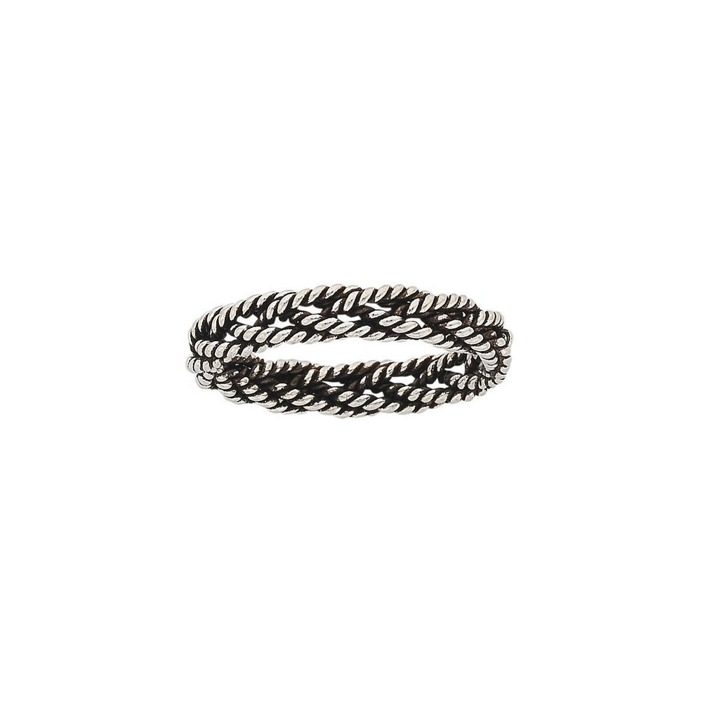 Sterling Silver Oxidised Twist Plaited Ring