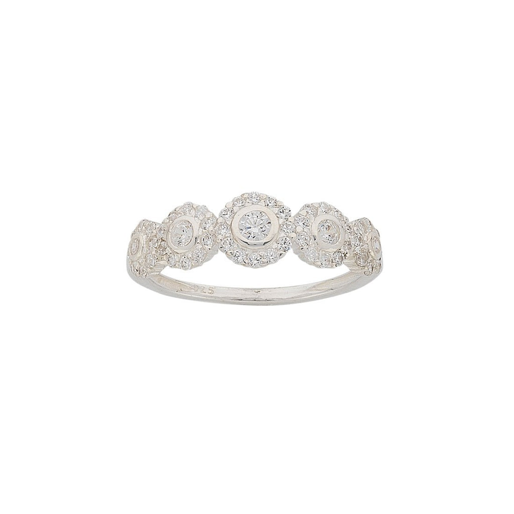 Sterling Silver Multiple White Cubic Zirconia Halo Ring