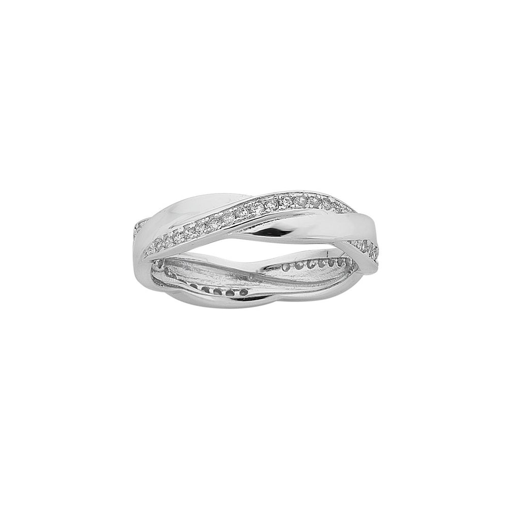 Sterling Silver Cubic Zirconia Interlocking Stackable Ring