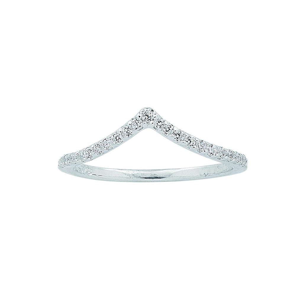 Sterling Silver Cubic Zirconia Chevron Ring